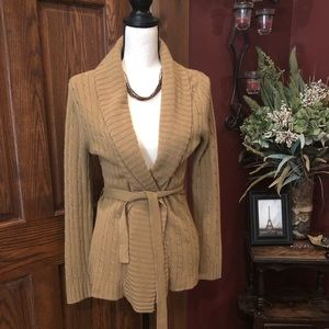New York & Company Tan Belted Sweater